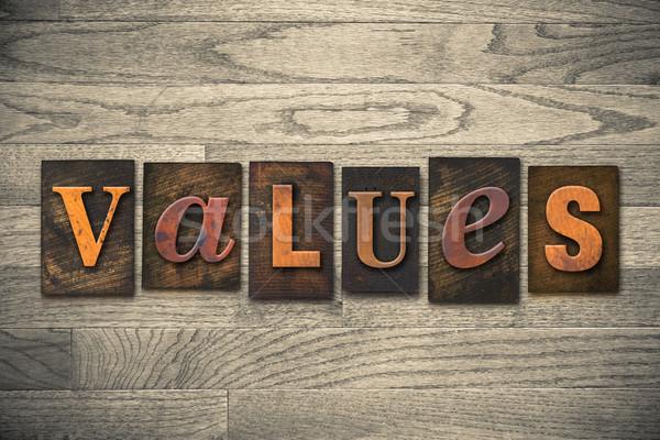 Valori legno tipo parola scritto Foto d'archivio © enterlinedesign
