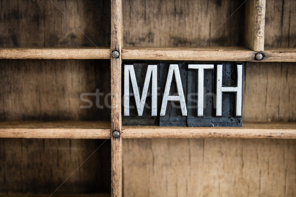 Math Concept Metal Letterpress Word in Drawer Stock photo © enterlinedesign