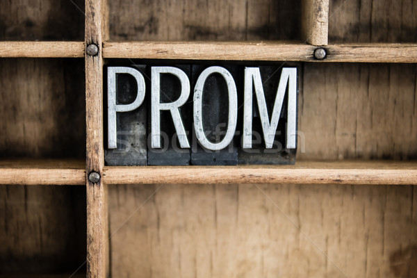 Prom metal palavra gaveta escrito Foto stock © enterlinedesign