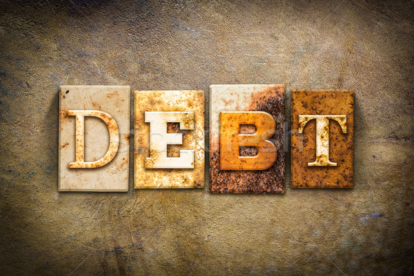 Debt Concept Letterpress Leather Theme Stock photo © enterlinedesign