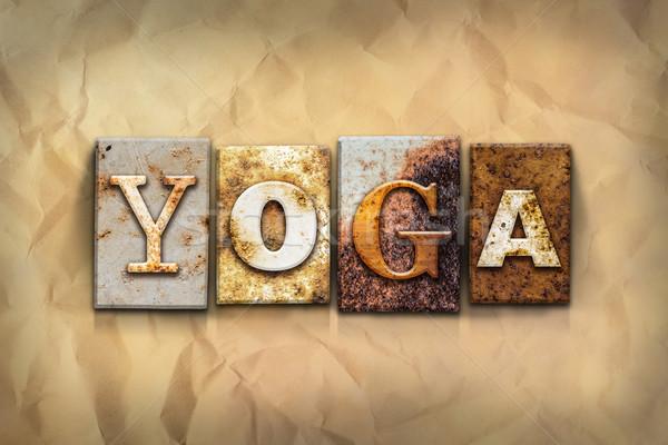 Stockfoto: Yoga · metaal · type · woord · geschreven
