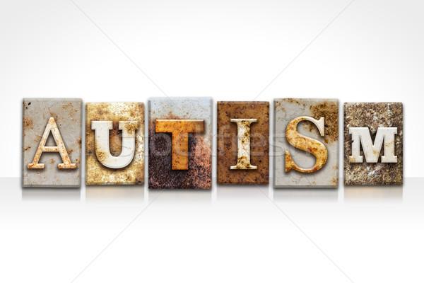 Autismus Buchdruck isoliert weiß Wort geschrieben Stock foto © enterlinedesign