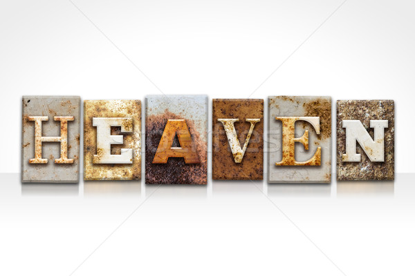 Heaven Letterpress Concept Isolated on White Stock photo © enterlinedesign