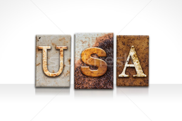Stock photo: USA Letterpress Concept Isolated on White