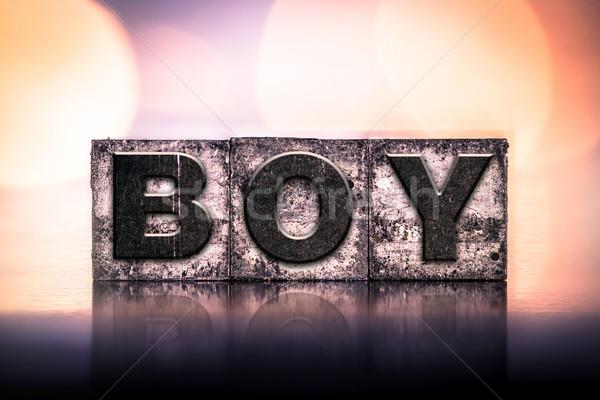 Nino vintage tipo palabra escrito Foto stock © enterlinedesign