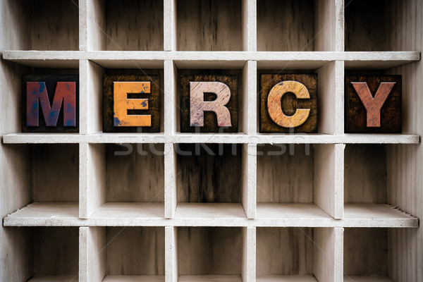 Mercy Concept Wooden Letterpress Type in Drawer Stock photo © enterlinedesign