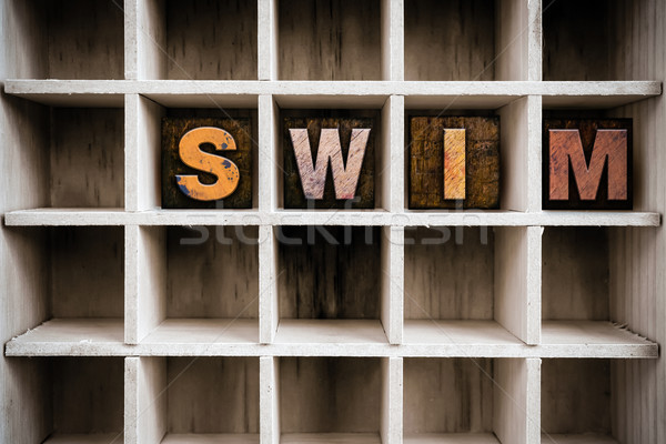 Swim Concept Wooden Letterpress Type in Drawer Stock photo © enterlinedesign