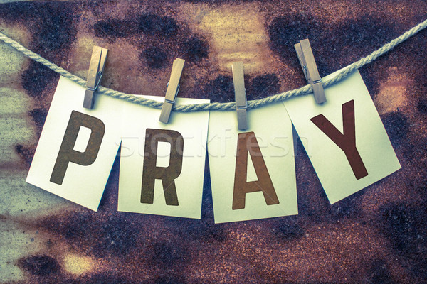 Pray Concept Pinned Cards and Rust Stock photo © enterlinedesign