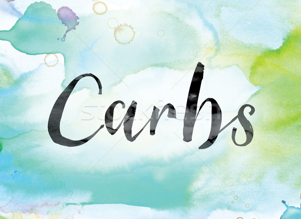 Carbs Colorful Watercolor and Ink Word Art Stock photo © enterlinedesign