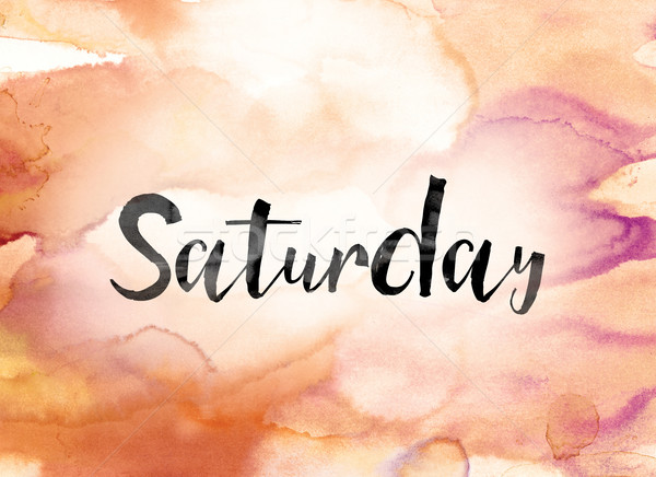 Saturday Colorful Watercolor and Ink Word Art Stock photo © enterlinedesign