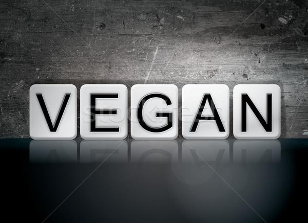 Vegan kiremitli harfler kelime yazılı beyaz Stok fotoğraf © enterlinedesign