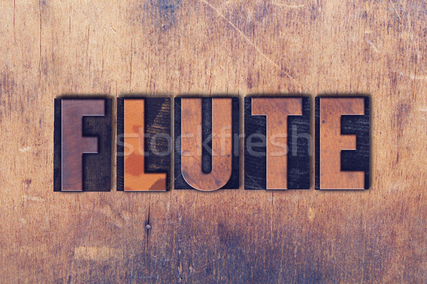 Fluit woord hout geschreven vintage Stockfoto © enterlinedesign