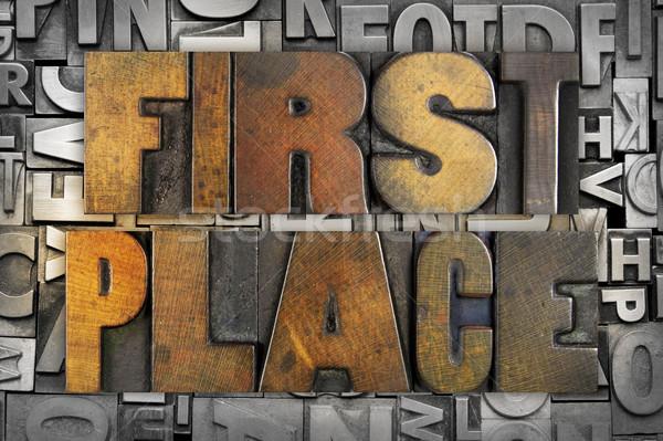 Primeiro lugar palavras escrito vintage tipo Foto stock © enterlinedesign