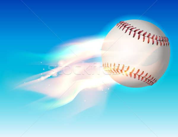 Flaming Baseball in the Sky Illustration Stock photo © enterlinedesign