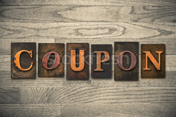 Coupon Concept Wooden Letterpress Type Stock photo © enterlinedesign