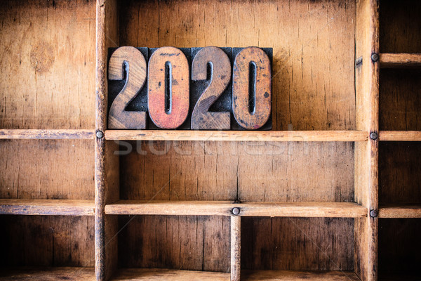 2020 Concept Wooden Letterpress Theme Stock photo © enterlinedesign