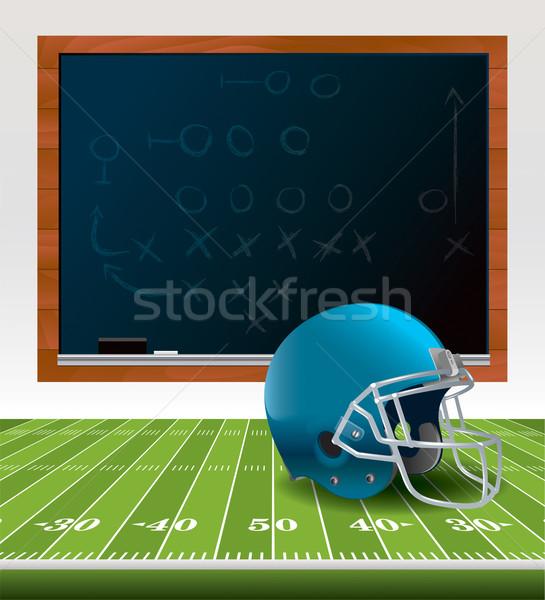 Amerikan futbol kask kara tahta örnek oturma Stok fotoğraf © enterlinedesign