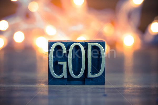 God Concept Metal Letterpress Type Stock photo © enterlinedesign