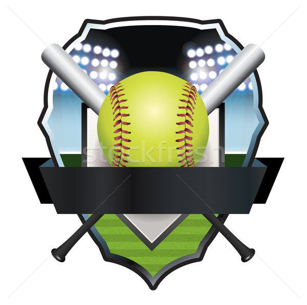 Softball emblema badge illustrazione vettore eps Foto d'archivio © enterlinedesign