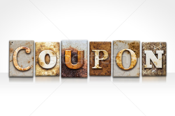 Coupon Letterpress Concept Isolated on White Stock photo © enterlinedesign