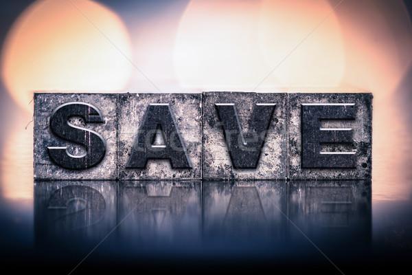Save Concept Vintage Letterpress Type Stock photo © enterlinedesign