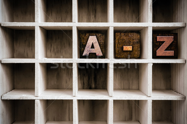 A-Z Concept Wooden Letterpress Type in Draw Stock photo © enterlinedesign