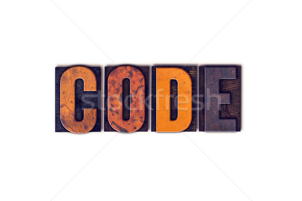 Kod yalıtılmış tip kelime yazılı Stok fotoğraf © enterlinedesign