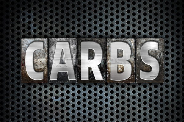 Carbs Concept Metal Letterpress Type Stock photo © enterlinedesign