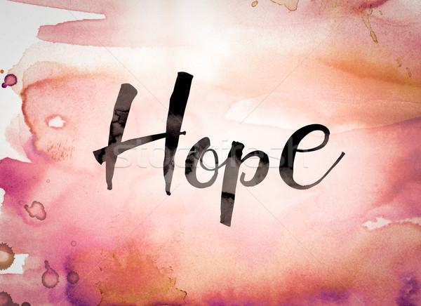 Speranza acquerello parola scritto nero vernice Foto d'archivio © enterlinedesign