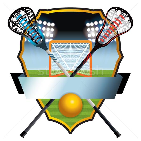 Lacrosse Emblem and Banner Illustration Stock photo © enterlinedesign
