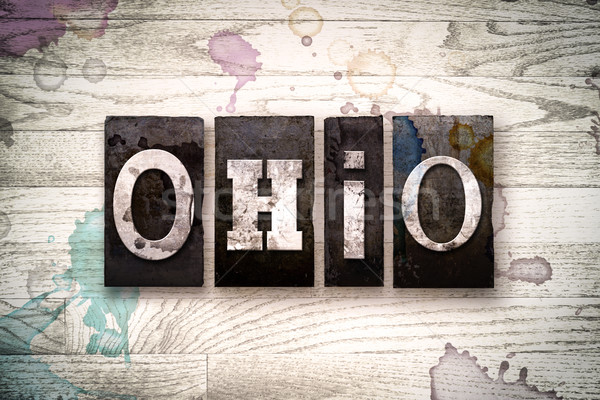 Ohio metal tipo palavra escrito Foto stock © enterlinedesign