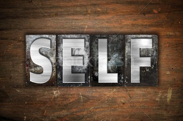 Self Concept Metal Letterpress Type Stock photo © enterlinedesign