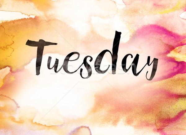 Tuesday Concept Watercolor Theme Stock photo © enterlinedesign