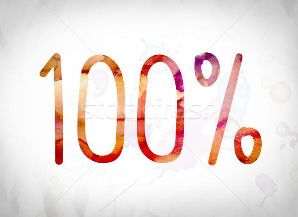 100 százalék vízfesték szó művészet írott Stock fotó © enterlinedesign
