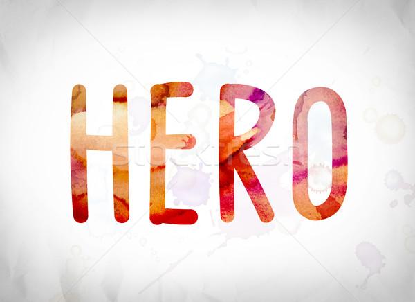 Stok fotoğraf: Kahraman · suluboya · kelime · sanat · yazılı · beyaz