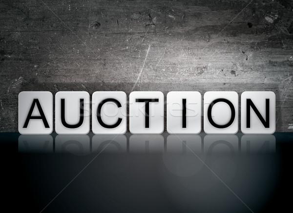 аукционе плиточные письма слово написанный белый Сток-фото © enterlinedesign