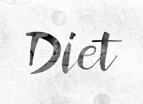 Diéta festett tinta szó vízfesték fehér Stock fotó © enterlinedesign