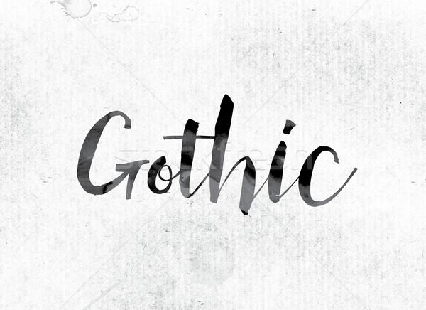 Готский окрашенный чернила слово акварель белый Сток-фото © enterlinedesign