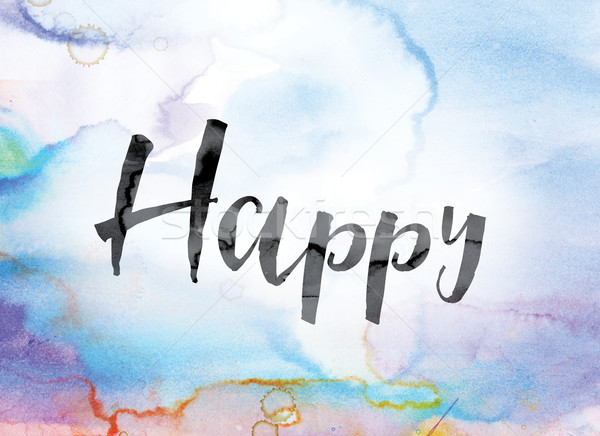 Happy Colorful Watercolor and Ink Word Art Stock photo © enterlinedesign