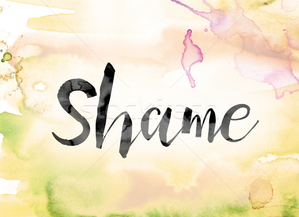Shame Colorful Watercolor and Ink Word Art Stock photo © enterlinedesign