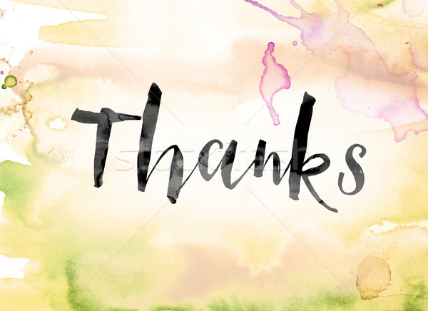 Thanks Colorful Watercolor and Ink Word Art Stock photo © enterlinedesign