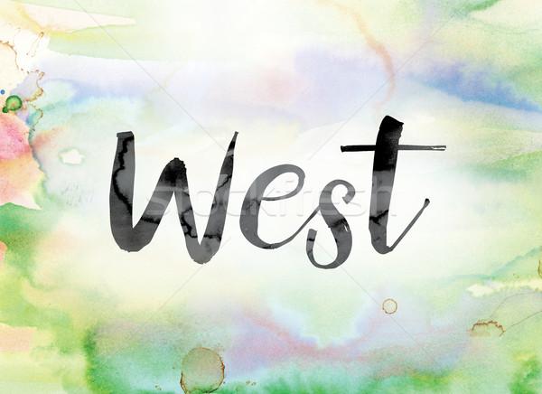 Запад красочный акварель чернила слово искусства Сток-фото © enterlinedesign
