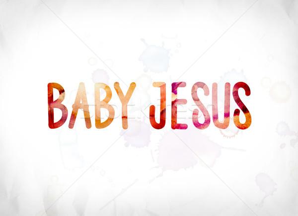 Baba Jézus festett vízfesték szó művészet Stock fotó © enterlinedesign