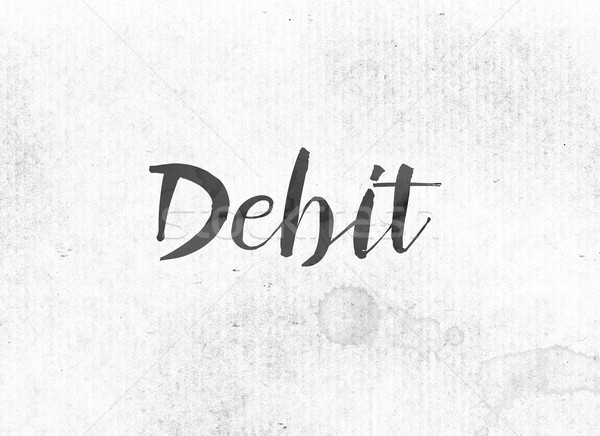 Di debito verniciato inchiostro parola nero acquerello Foto d'archivio © enterlinedesign