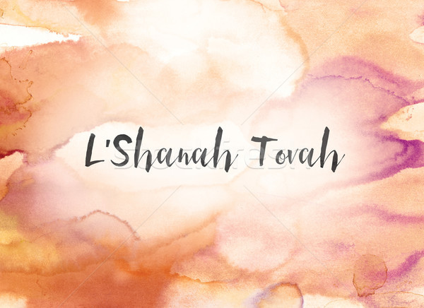 L'Shanah Tovah Concept Watercolor and Ink Painting Stock photo © enterlinedesign