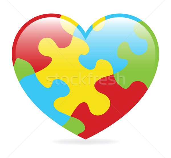 Autisme coeur coloré symbolique pièces de puzzle enfants Photo stock © enterlinedesign