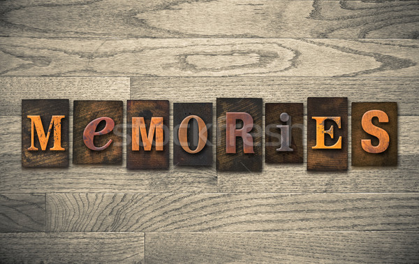 Memories Wooden Letterpress Concept Stock photo © enterlinedesign