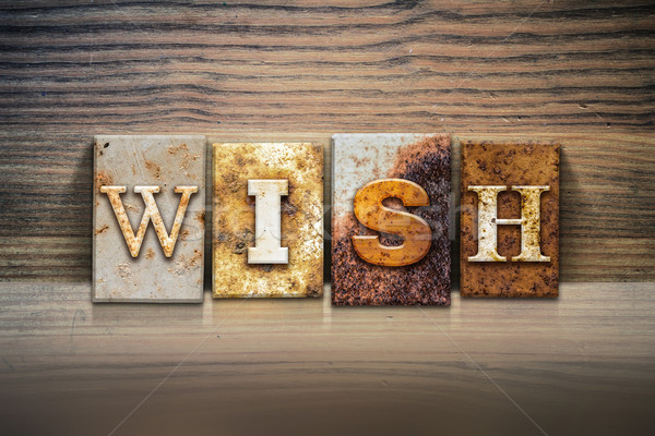 Wish Concept Letterpress Theme Stock photo © enterlinedesign