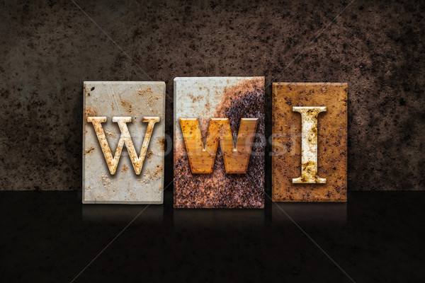 Stock photo: WWI Letterpress Concept on Dark Background
