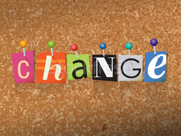 Change Concept Pinned Letters Illustration Stock photo © enterlinedesign